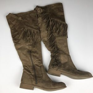 Wild Diva Lounge Women's Fringe Knee Boots